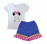 Epcot Ball Minnie Mouse Appliqued White Shirt and Shorts or Capris in Epcot Logo Colors
