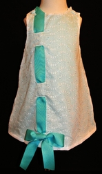 Custom Girl's Eyelet Dress wtih Ribbon for Easter & Portraits