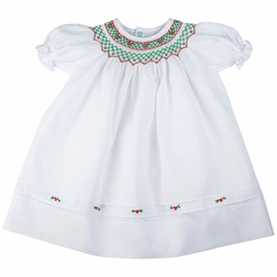 Feltman Brother's Smocked Christmas Dress in White with Green and Red Embroidery and Bullions