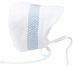 Feltman Brothers Baby Boy's Smocked Hat in White, White with Blue or Solid Blue