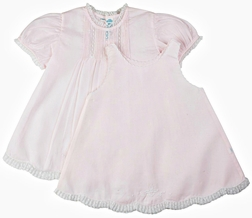 Feltman Brothers Baby Girl's Pink Dress with Scallop Hem, French Lace and Pintucks