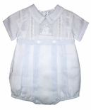 Feltman Brothers Baby Boy's Blue Belted Bubble Romper with Embroidered Train