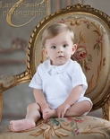 Feltman Brothers Boy's Heirloom White Shortall with Detail Collar Shirt