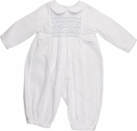 Feltman Brothers Boy's Smocked Long Bubble with Tabs in White or White with Blue