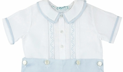 Feltman Brothers Boy's White and Blue Button On