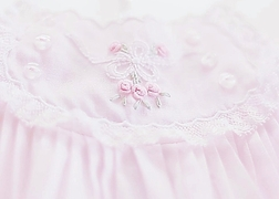 Feltman Brothers Girl's Pink Vintage Bow Embroidered Bubble with Lace and Bullions