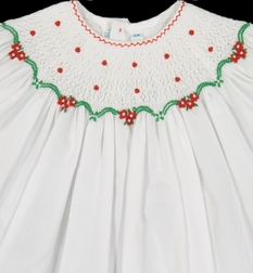 Feltman Brothers Smocked Dress for Christmas in White with Red & Green Embroidery