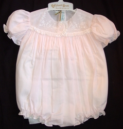 Feltman Brothers Baby Girl's Embroidered Pink Bubble with White Embroidery
