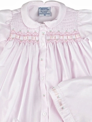Feltman Brothers Ribbon Smocked Take Me Home Gown in Pink with Bonnet