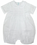 Feltman Brothers Smocked White Tab Bubble for Baby Boys