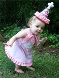 Custom 1st Birthday Cake Dress in Gingham with Dots and Ribbon.