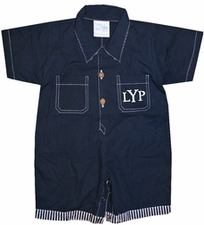 Frumpy Rumps Monogrammable Navy Shortall for Boys
