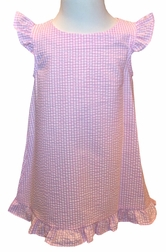 Funtasia Monogrammable Pink Seersucker Dress with Angel Wing Sleeves