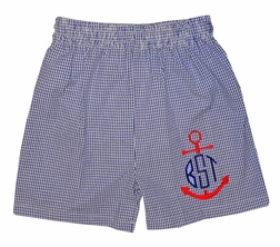 Funtasia Too Monogrammable Boy's Navy Gingham Seersucker Swim Suit