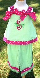 Custom Girl's Dotted Ribbon And Gingham Outfit