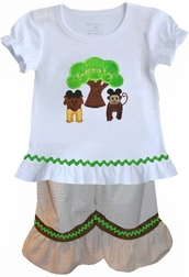 Girl's Animal Kingdom Outfit with Tree of Life and Mickey Ears Lion, Monkey, Elephant and Giraffe