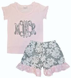 Girl's Appliqued Monogram Vine Initials in Gray Damask with Pink Ruffle Shirt and Gray Damask, Dotted Ruffle Shorts