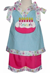 Girl's Birthday Outfit Custom Made in Turquoise & Pink and Birthday Ribbon
