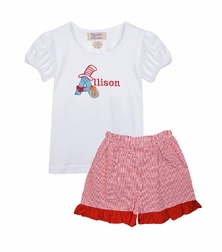 Girl's Cat in the Hat Shirt and Shorts or Capris Outfit