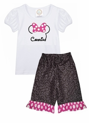 Girl's Disney Minnie Mouse Outfit Personalized Outfit with Name