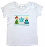 Girl's Faux Smocked Frozen Elsa and Anna Princess Shirt