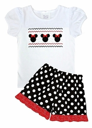 Girl's Feaux Smocked Minnie Mouse Shirt and Shorts or Capris Outfit