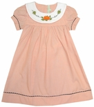 Girl's Hand Embroidered Pumpkin Collar Sash Dress