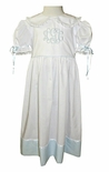 "Heirloom ""Betsy"" Dress with Color Accent Hem, French Lace and Tie Back Sash"