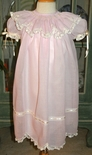 Girl's Heirloom Pink French Voile Dress with Batiste Ecru Underlay Slip