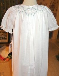Girl's Heirloom Smocked Dress in White with Embroidered Blue Rosebuds and Pearls by Highland Porch