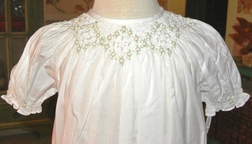 Girl's Heirloom Smocked Dress in White with Embroidered Ecru/Ivory Rosebuds and Pearls by Highland Porch