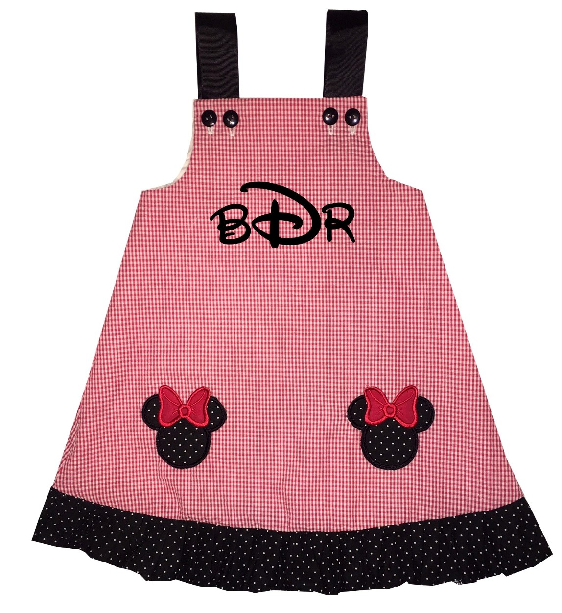 Girls Minnie Mouse Pockets Monogrammed Red Gingham Dress With