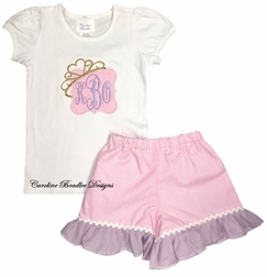 Girl's Monogram Personalized Princess Crown Tiara Frame Shirt and Shorts Outfit