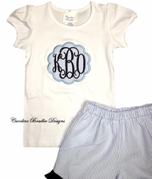 Girl's Monogram Personalized Seersucker Scalloped Frame Shirt and Shorts Outfit