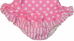Girl's Monogrammable 1 Piece Swimsuit in Pink with White Dots and Stripes