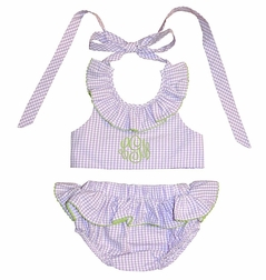 Girl's Monogrammable Swimsuit in Lavender Seersucker Trimmed in Lime Green Ric Rac