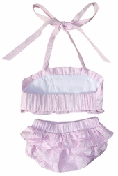 Girl's Monogrammable Swimsuit in Light Pink Seersucker