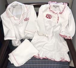 Girl's Monogrammed White Night Gown Trimmed in Red Perfect for Christmas