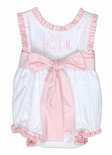 Girl's Monogrammed White Swiss Dots Bubble with Light Pink Ruffles and Light Pink Sash Tie