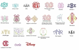 Girl's Monogram Styles for Initials