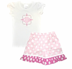 Girl's Personalized Monogrammed Cinderella Castle Princess Castle Monogram Shirt and Shorts Outfit