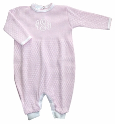 Girl's Pink And White Layette Baby Infant Romper By Paty, Inc.