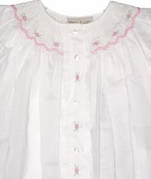 Girl's Smocked Day Gown In White And Pink By Maria Elena