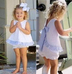 Girl's White Dots with Light Blue Seersucker Tie Back Bloomers or Shorts Set