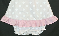 Girl's White Dots with Pink Ruffle Tie Back Bloomers or Shorts Set