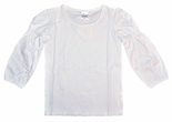 Girl's White Monogrammable Gathered Sleeve White Shirt
