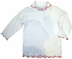 Girl's White Turtleneck with Lettuce Ruffle Edges and Red Trim