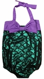 Girls' Mermaid Fabric Ariel 1 Piece Swimsuit Bathing Suit Perfect for a Mermaid Party or Swimming at Disney World or Disneyland