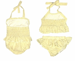 Girls' Monogrammable 1 Piece and 2 Piece Swimsuit Bathing Suit in Yellow Seersucker with Ruffles and Ric Rac