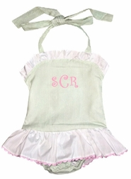 Girls' Monogrammable 1 Piece Swimsuit Bathing Suit in Soft Green Stripe with Pink Trimmed white Ruffles